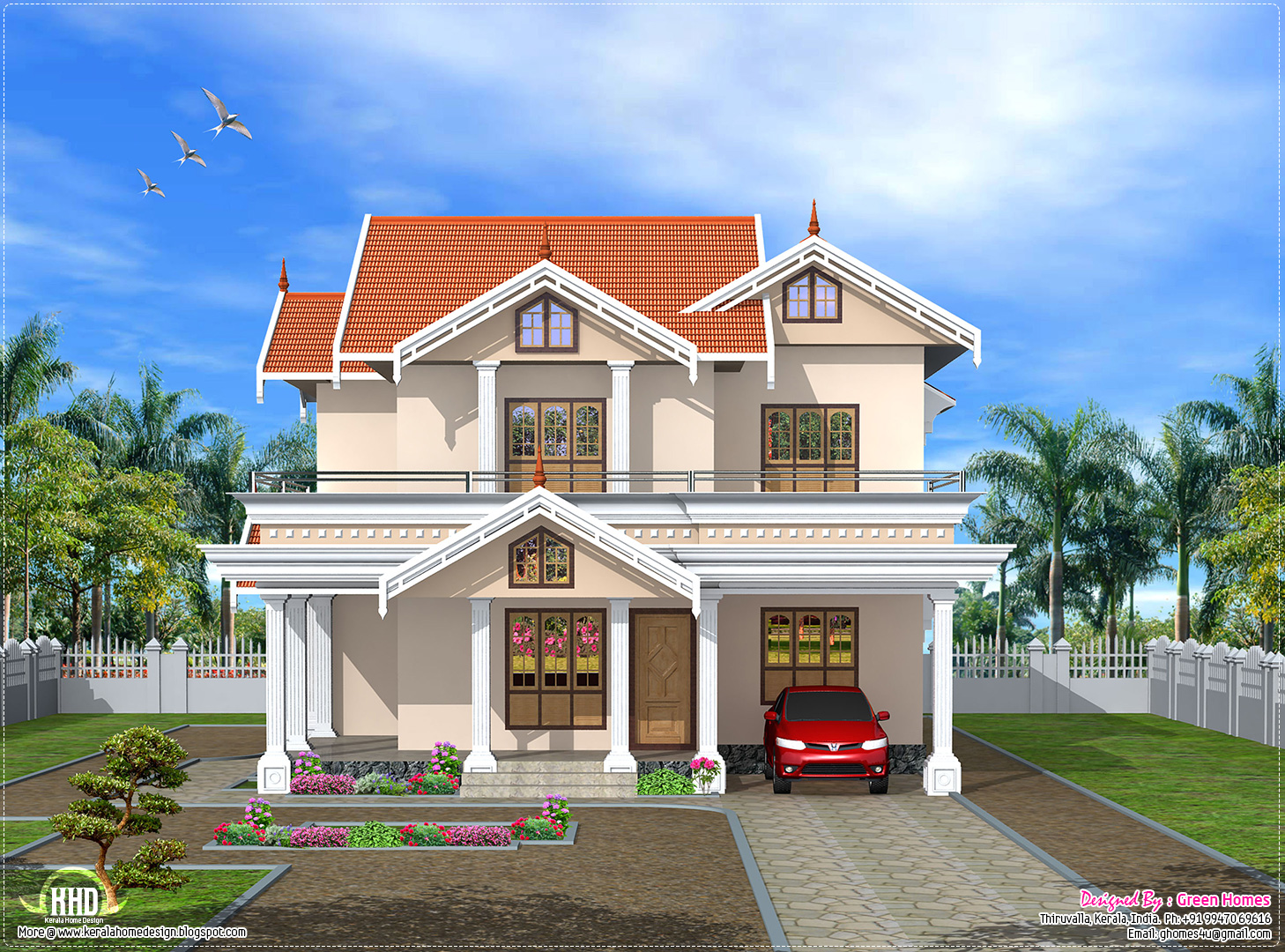 Different designs of front elevations views houses plans for New kerala house plans with front elevation