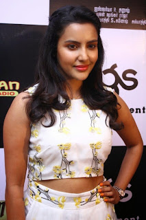 Priya Anand looks Gorgeous in White Flower Print Top and Long Skirt at Vai Raja Vai Audio Launch