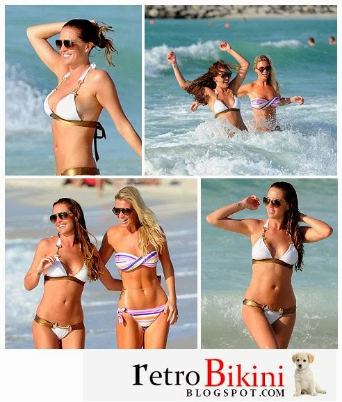 English:Danielle Lloyd White Bikini Dubai January 20, 2014