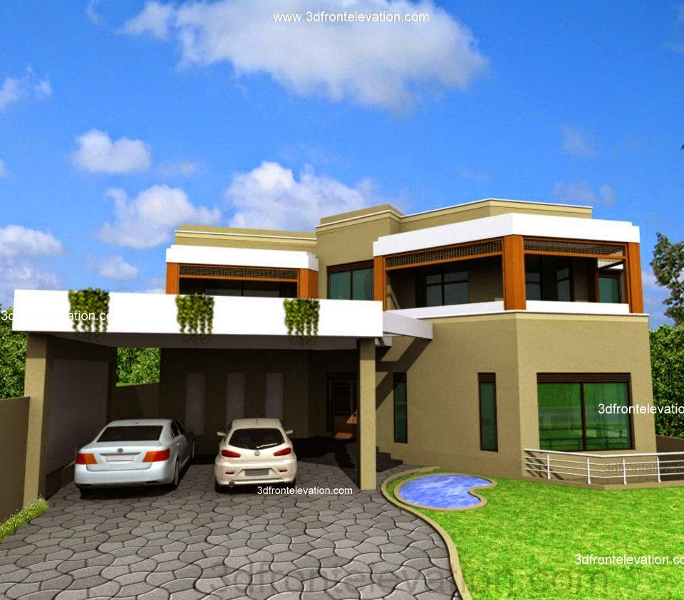 3d front 5 10 marla house plan 3d front for Normal house front design