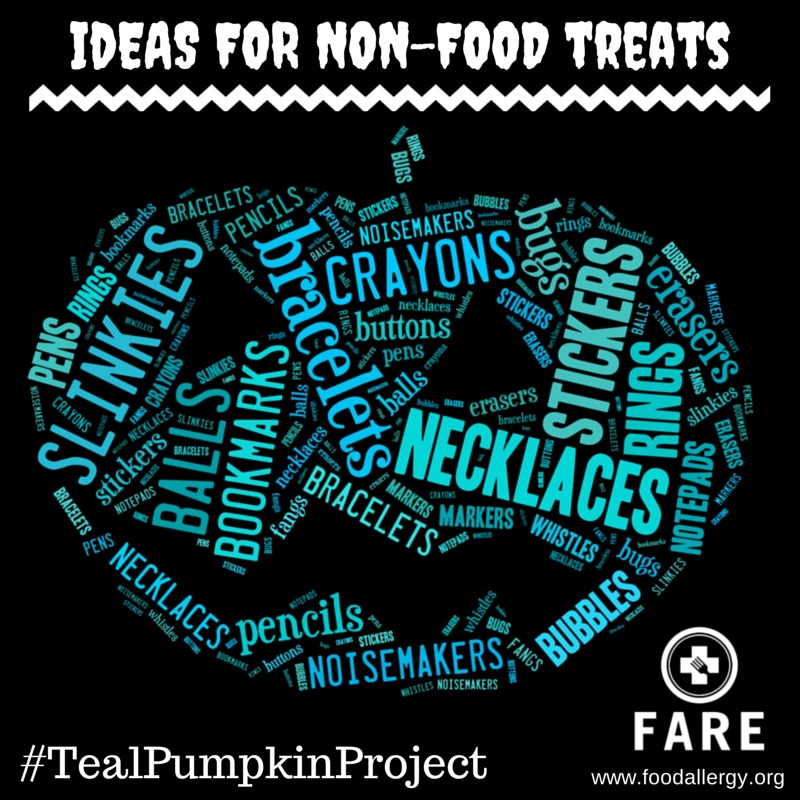 teal pumpkin shaped with words for non-food items such as slinkies, bookmarks, pens, noisemakers, notepads, bubbles, etc.