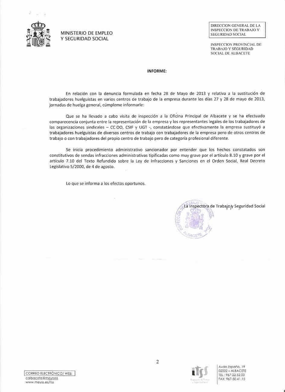 Secci n sindical de csi f en grupo liberbank comunicaciones de la inspecci n de trabajo - Fax caser bajas ...