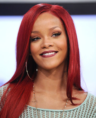 rihanna red hair long. Rihanna#39;s red hair
