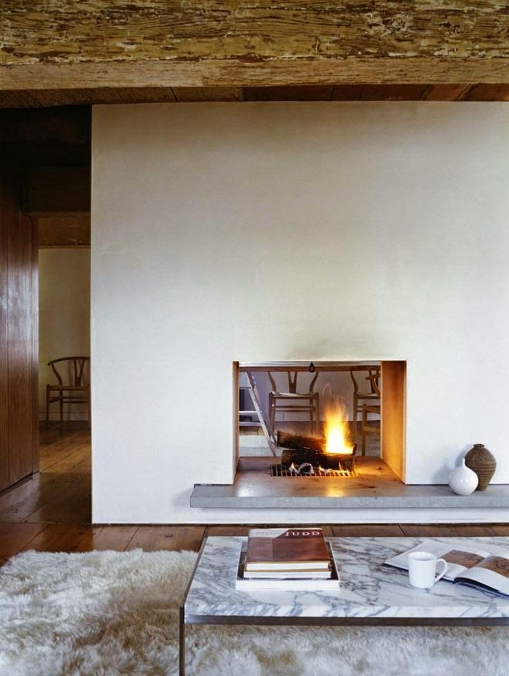 chimenea con dos aberturas generando espacios