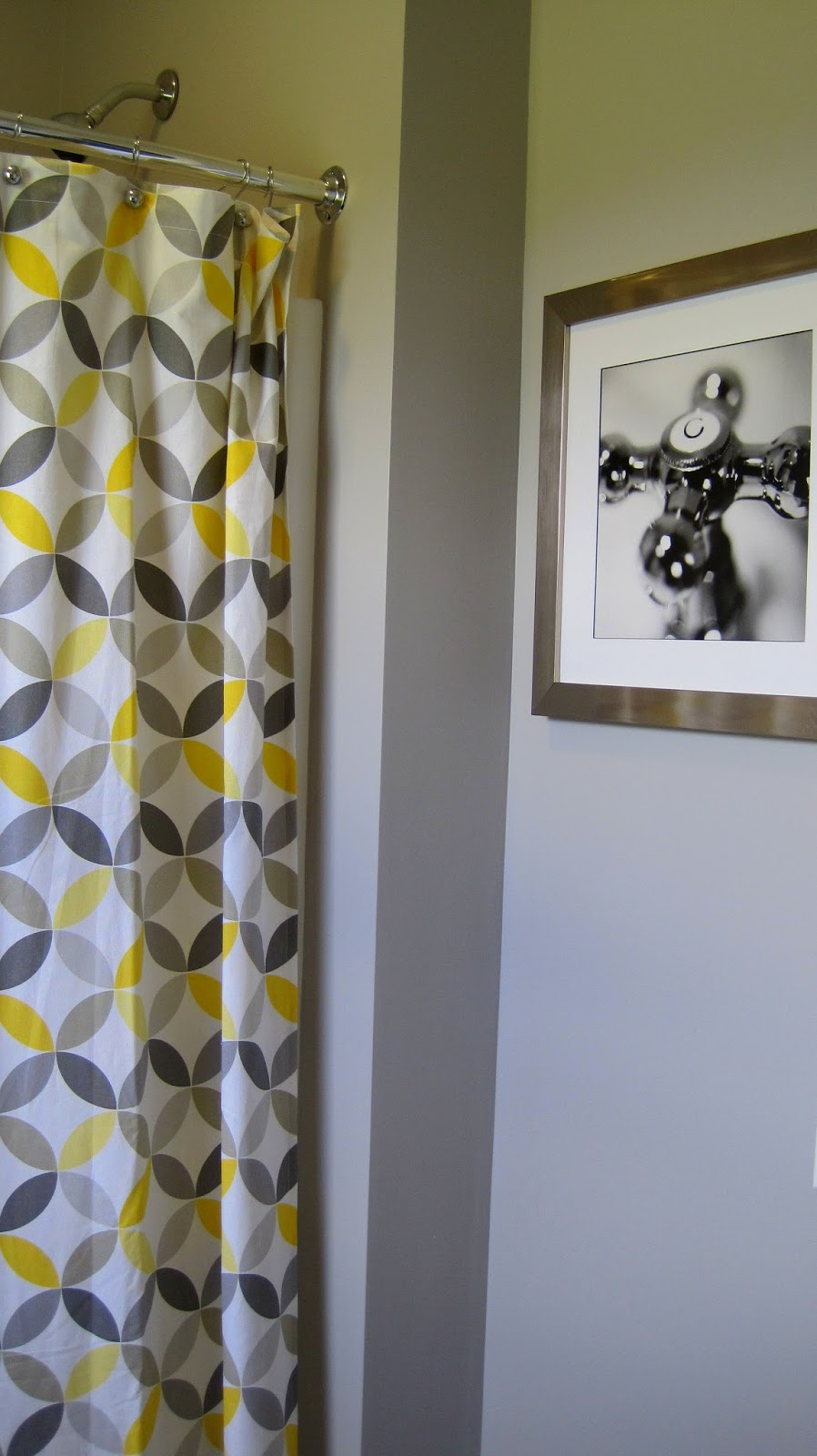 I married a tree hugger cheery yellow and grey bathroom for Bathroom decor yellow and gray