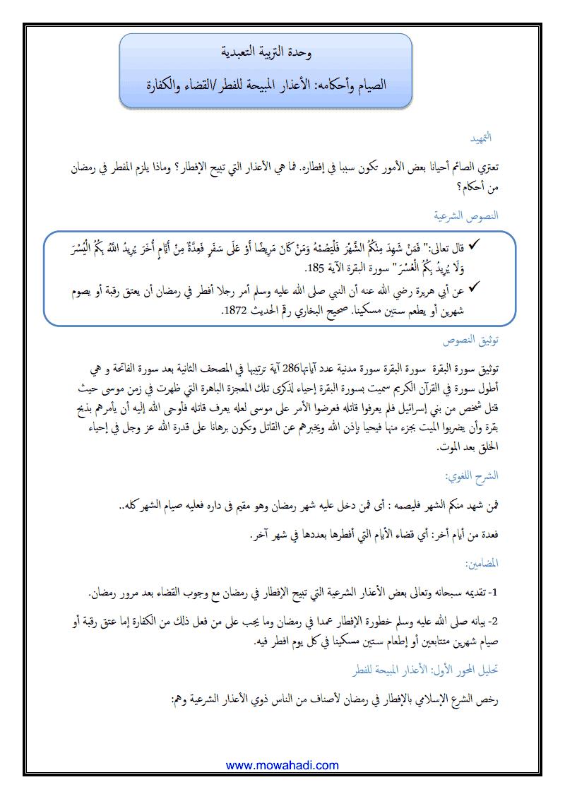 الصيام وأحكامه ( الأعذار المبيحة للفطر ) -1