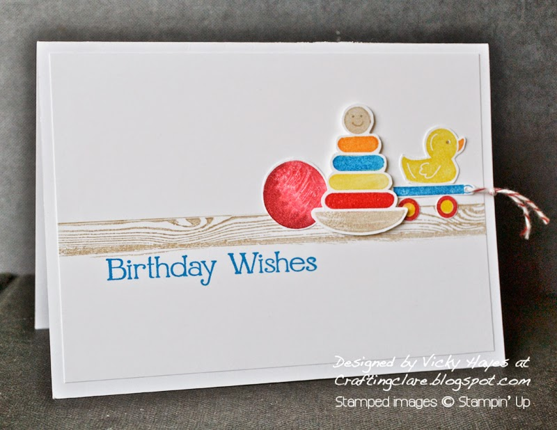 Toy shelf card using Something for Baby made by UK independent Stampin' Up demonstrator Vicky Hayes