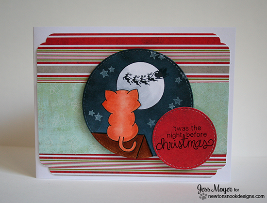 Night before christmas kitty card by Jess Moyer for Newton's Nook Designs - Newton's Curious Christmas Cat stamp set