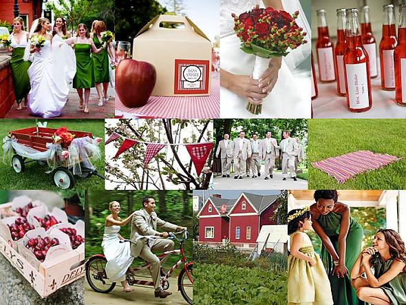 In an apple theme wedding bridesmaids can don the apple colored dress of