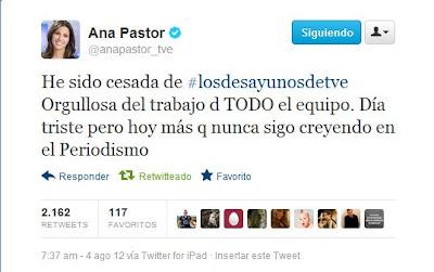 Ana Pastor, destituida al frente de Los Desayunos de TVE