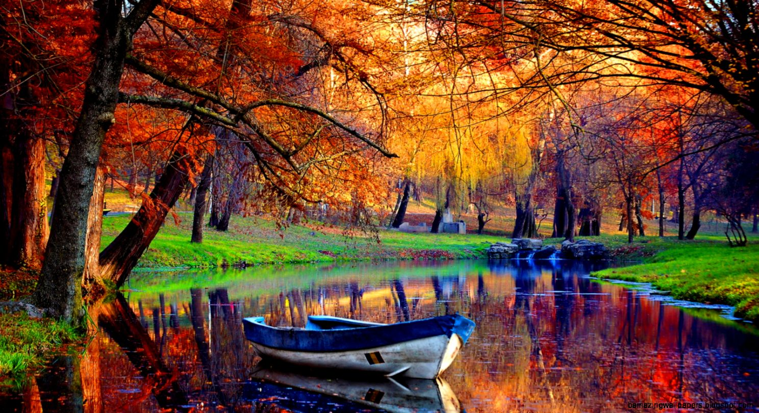 September Autumn River Wallpaper for Widescreen Desktop PC 1600x900