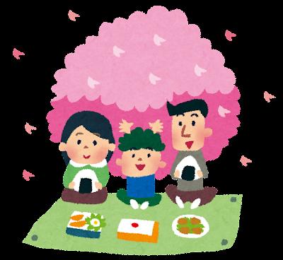 お花見のイラスト「家族でピクニック」