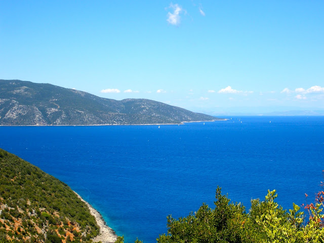 Mediterranean Sea and mountains of the island of Kefalonia, Greece