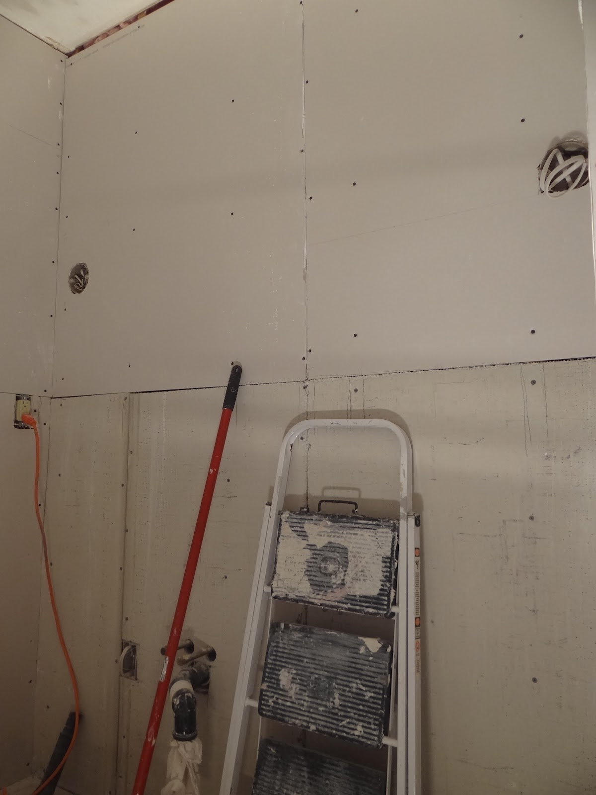 One project at a time diy blog 62 putting the walls for Drywall or cement board for shower