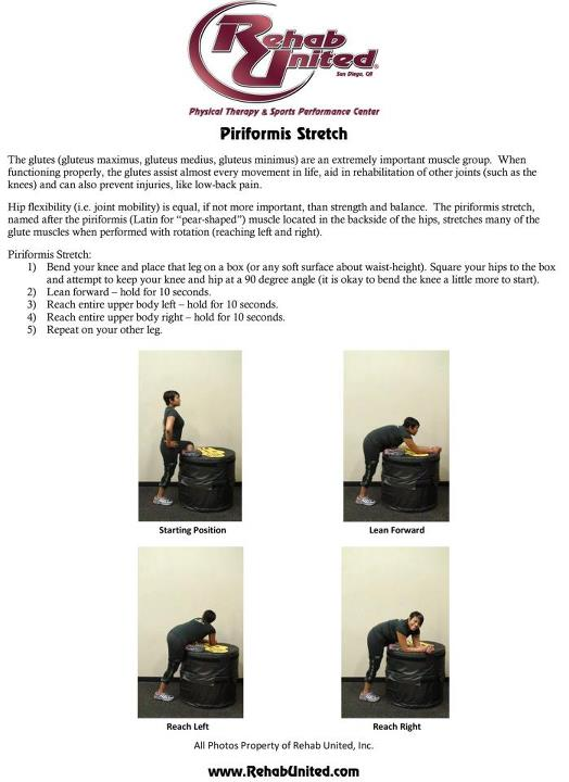 Piriformis Stretching Exercises Hand Out