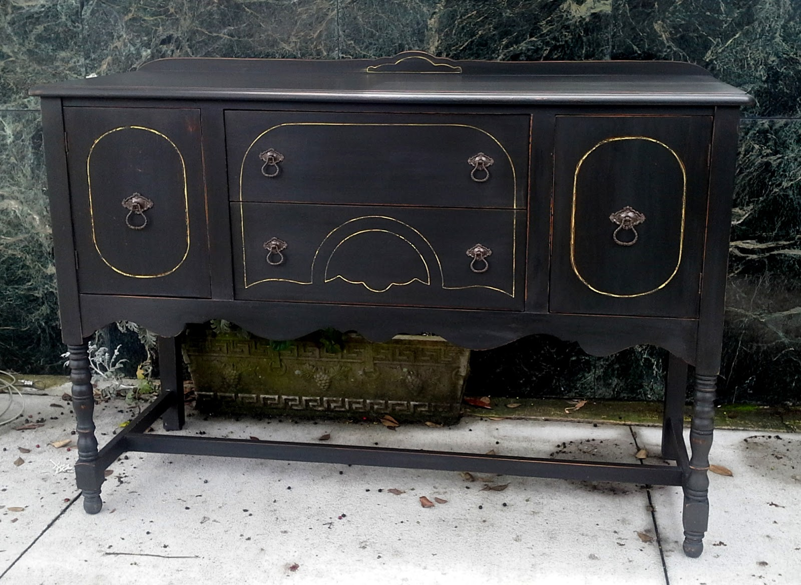Furnitologist: Antique Solid Wood Black Buffet, Sideboard ...