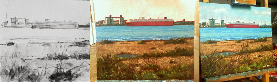 wip oil painting southampton weston shore