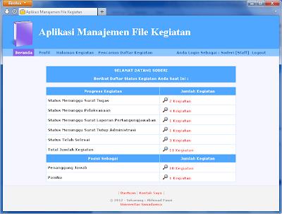 Halaman Beranda Aplikasi Manajemen File Kegiatan untuk Penulisan Ilmiah