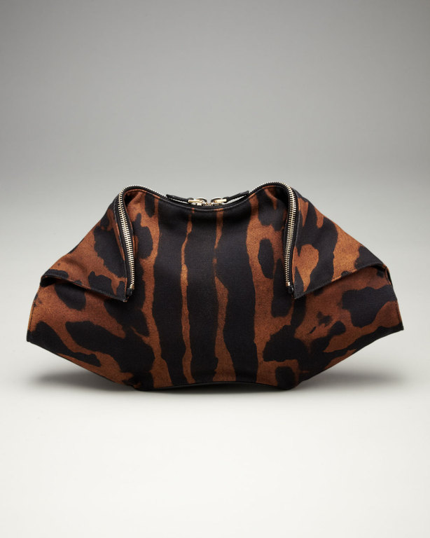 Alexander McQueen De-Manta Tiger Print Clutch