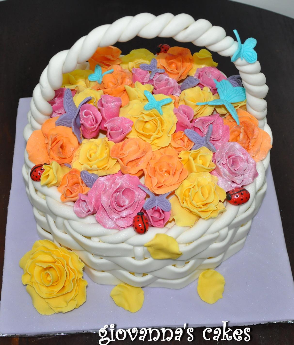 Giovannas Cakes Flower Basket Cake