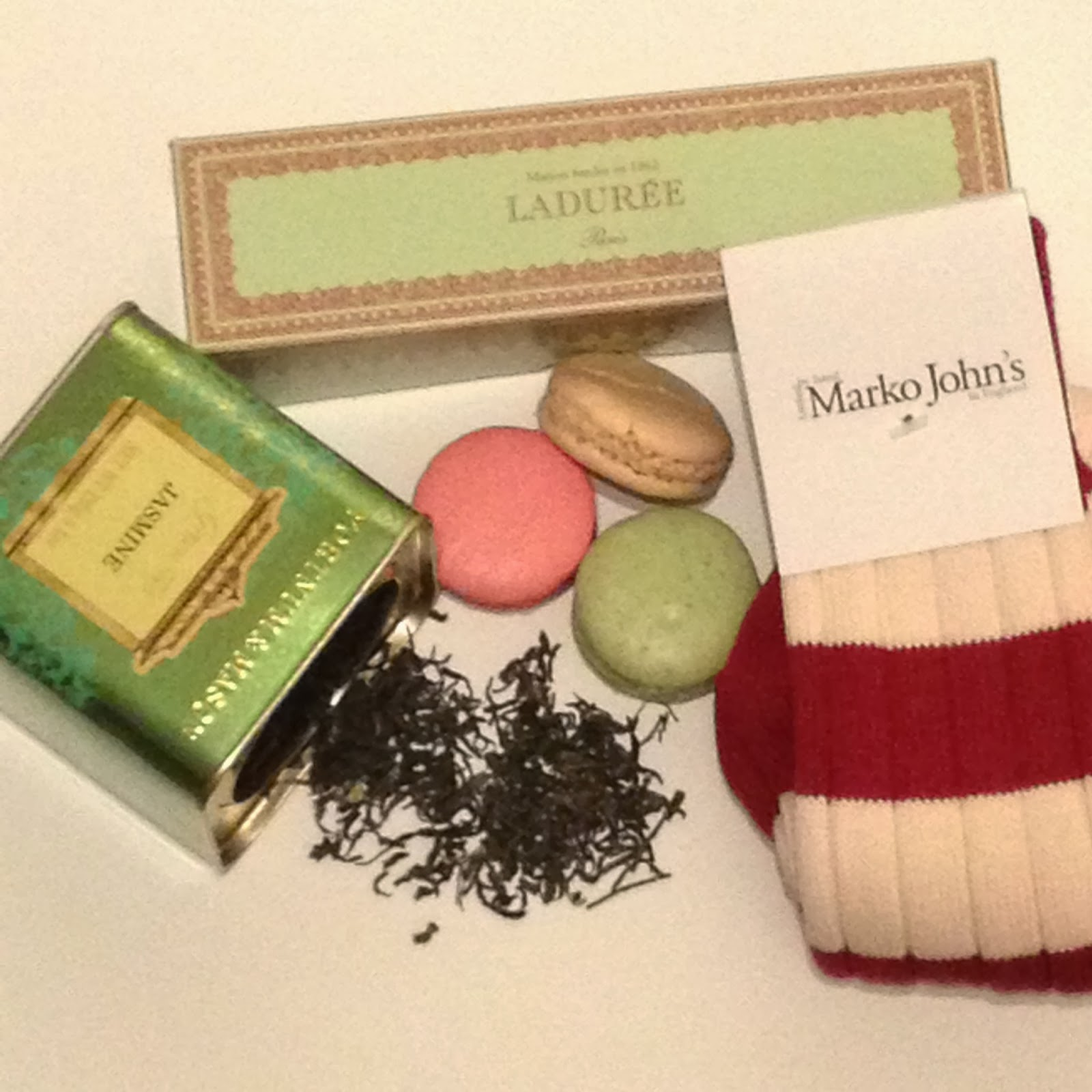 macaroons, laduree, laduree paris, laduree macaroons, laduree harrods, fortnum and mason, fortnum and mason tea, jasmin tea, loose tea, fortnum and mason loose tea, marko johns socks, marko john's socks, marko john's striped socks, woolie socks, striped socks