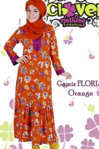 Clover Clothing Gamis Floria - Orange (Toko Jilbab dan Busana Muslimah Terbaru)