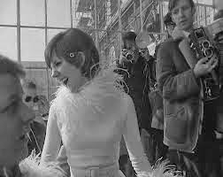 Cilla Black in marabou trimmed 1960s wedding dress c. HVB vintage wedding blog 2013