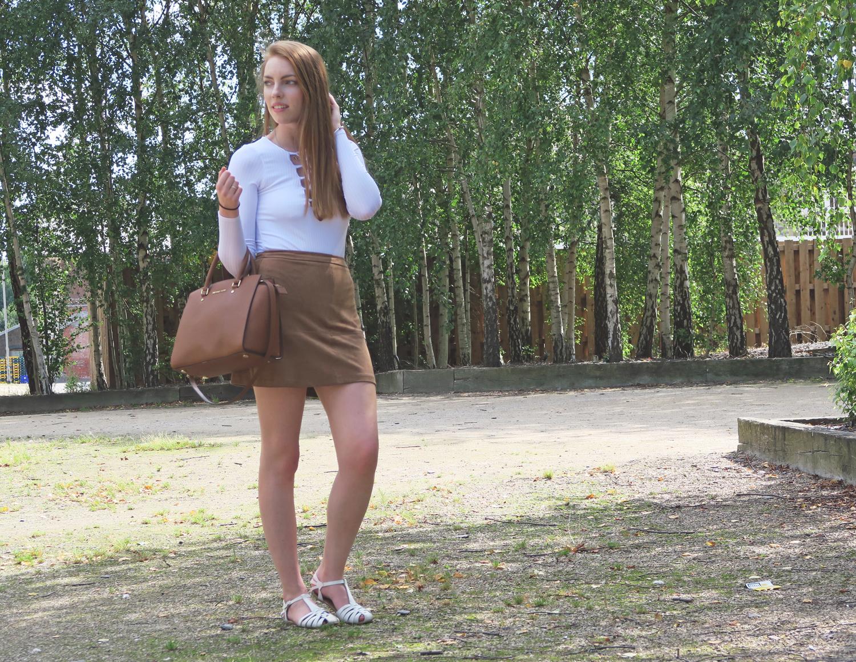 new look brown suede skirt