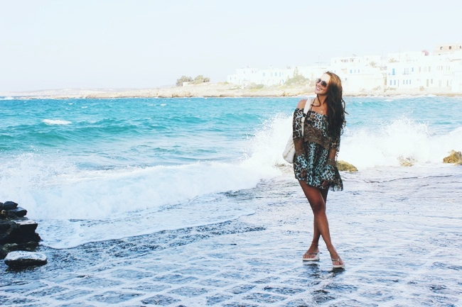 Natural beauty of Naoussa town,sea,wind,rocks,salt.Old port of fishing village of Naoussa in Paros.Paros island travel guide.What to see in Paros.Ostrvo Paros,ribarsko selo Naoussa,stara luka.Leopard print blouse.