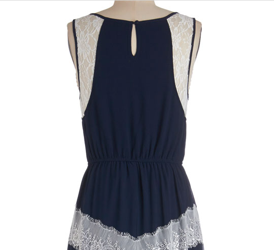 Navy maxi dress with white lace details and keyhole, from Modcloth