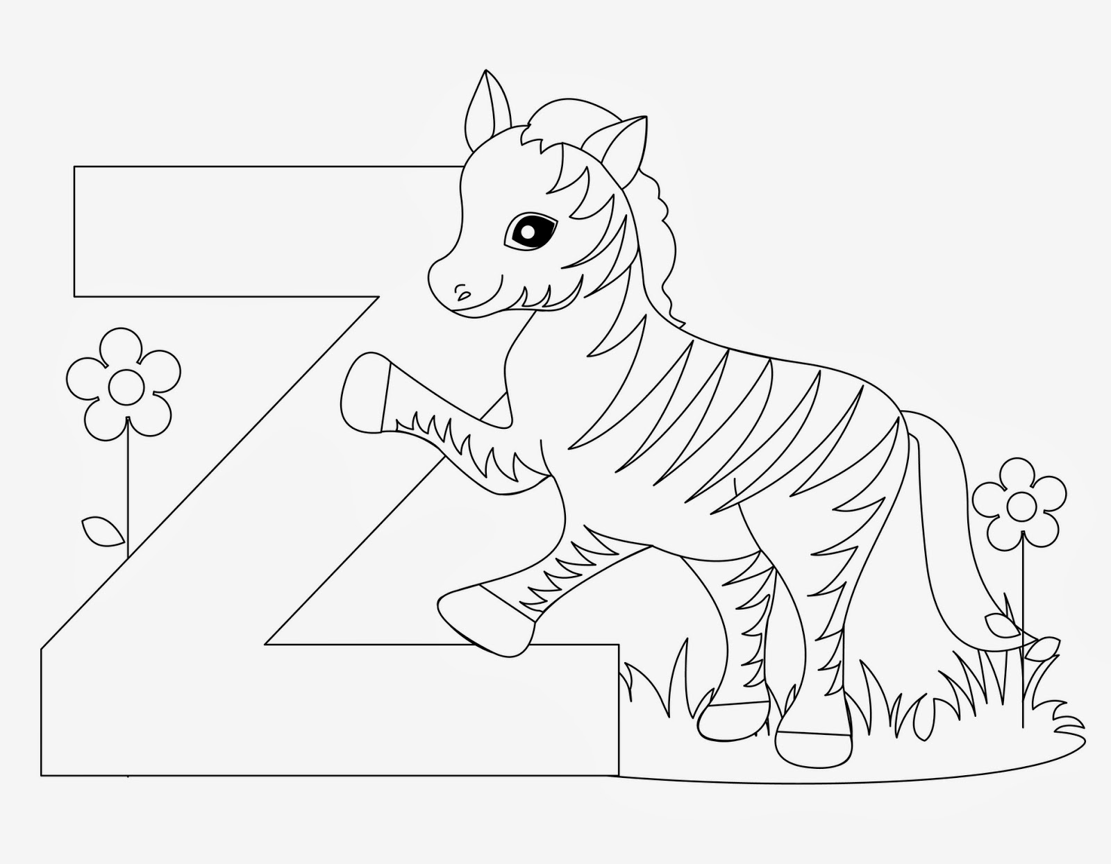 printable Alphabet Coloring Pages Zebra