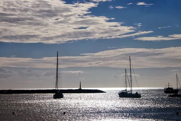 boats and sea at dusk
