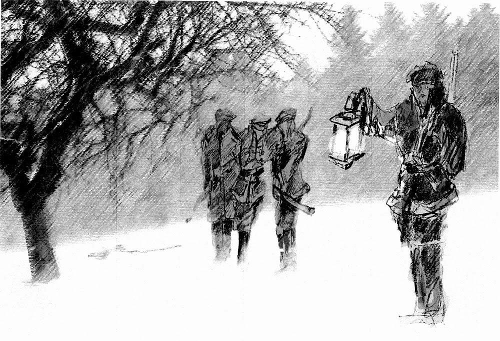 Grzybów Stary k. Stąporkowa. Legenda drewnianego krzyża: Ktoś jest na zewnątrz! widziałem światło - powiedziałem do rodziców... Rysunek (technika łączona) - Adam Kubka.