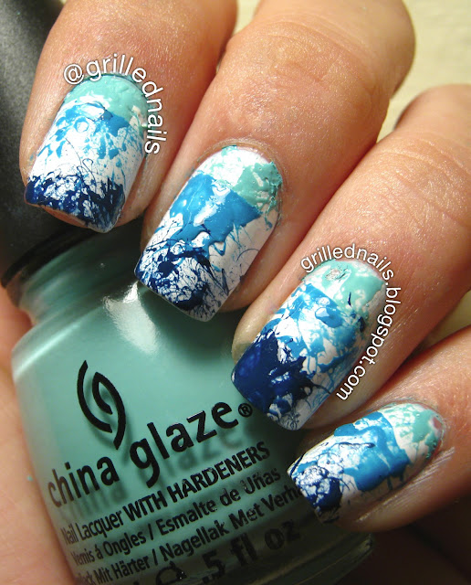 grillednails grilled nails nail art hector alfaro ombre splatter coffee stirrer China Glaze challenge californails february 2013