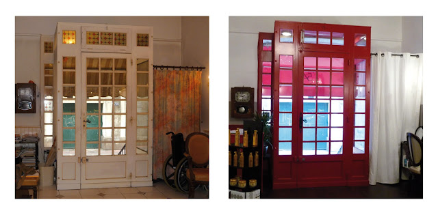 A gauche anciennement le salon de coiffure Belissinde et à droite le salon de coiffure Studio 54, après travaux.