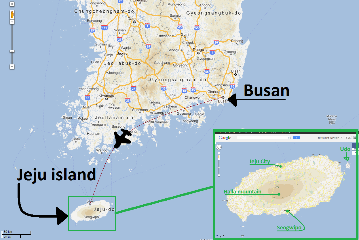 Location of Jeju island, I39;ve pointed out the places which we visited