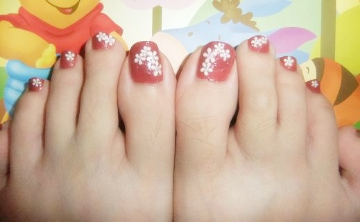 Flower Nail Art Pedicure And Last Post Of The Day This Is One Popular Design Among My Customerssuitable For Brides Or Any Occasions
