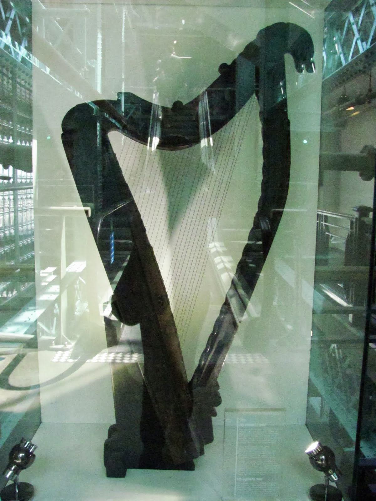 The harp upon which the Guinness harp logo was designed on display at Guinness Storehouse, Dublin, Ireland