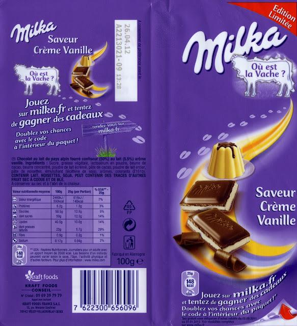 tablette de chocolat lait gourmand milka saveur crème vanille