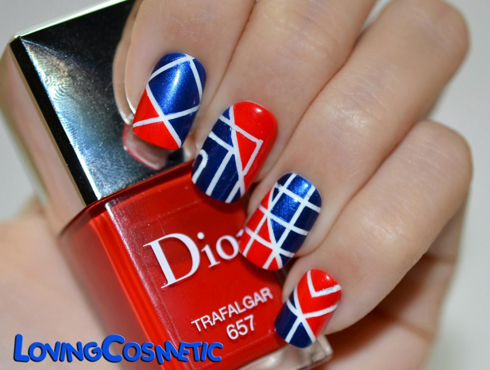 Nail nails nailart art uñas diseño uñas rayas nail tapes cintas rojo azul dior essence