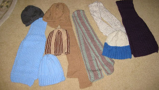knitted hats and scarves
