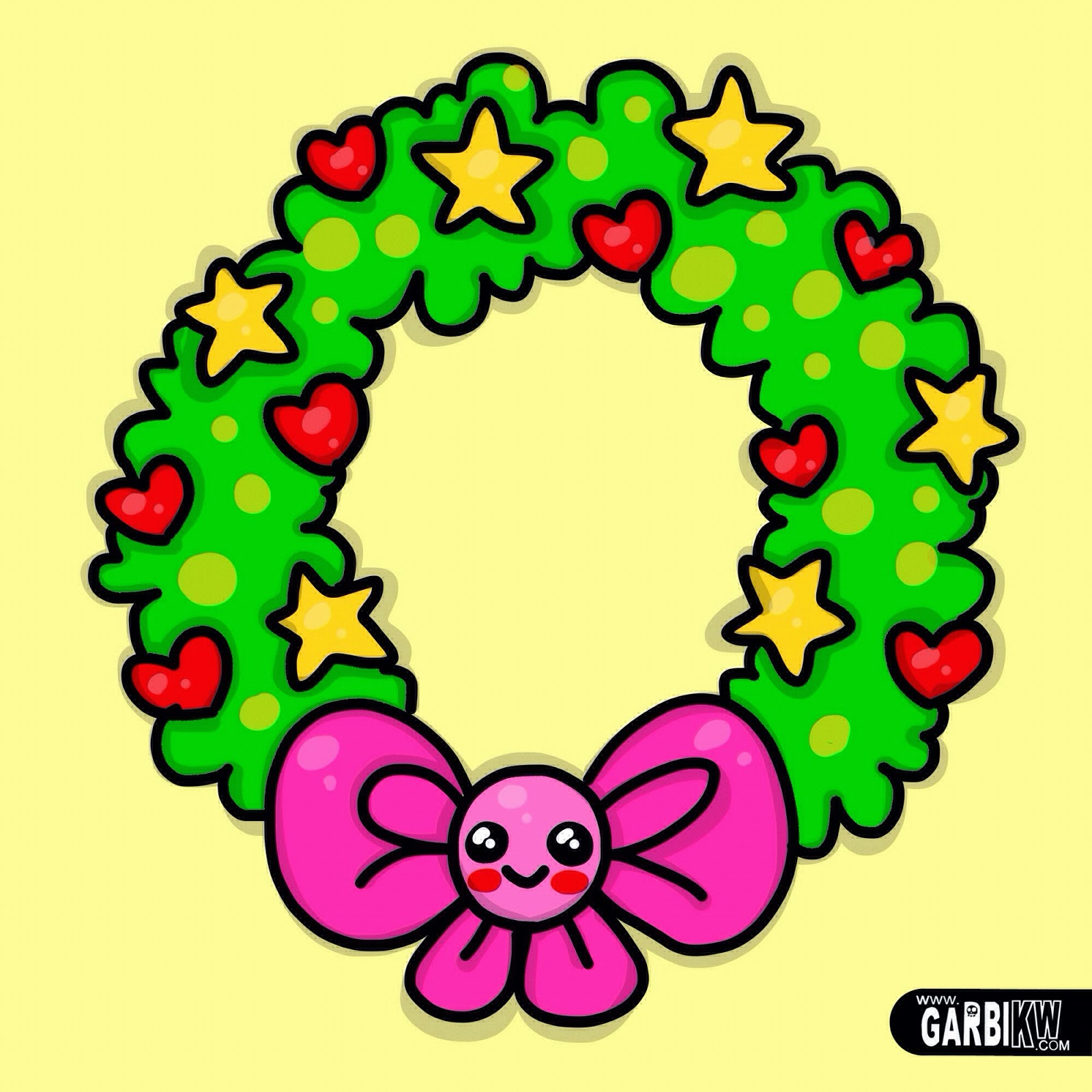 how to draw a circular wreath kawaii style christmas drawings by