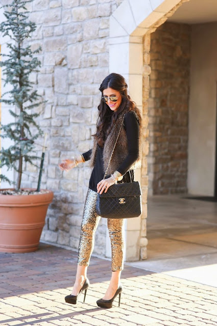 How to wear sequin leggings, New Year's Eve outfit idea, dressed up in pants