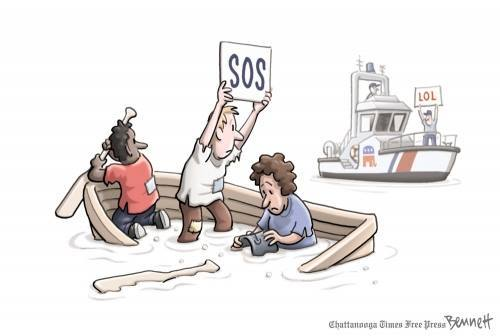 Three persons in sinking row boat holding up SOS sign.  Republicans on GOP Coast Cuard Cutter holding up LOL sign.