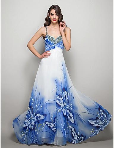 Vestido Largo de Gasa con Mariposas Azules