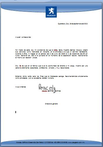 ejemplo de carta de recomendacion laboral
