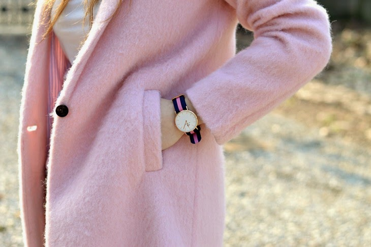 Pull and Bear pink Cocoon coat Daniel Wellington Classic Winchester Lady Watch Wristband Classic Winchester how to wear pink coat abbinare cappotto rosa TheSparklingCinnamon
