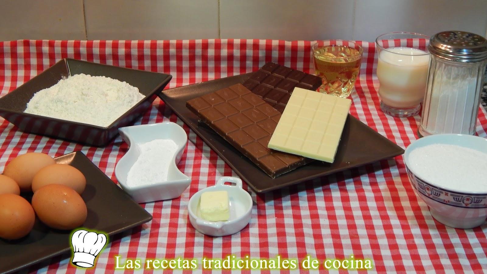 Receta de bizcocho de tres chocolates