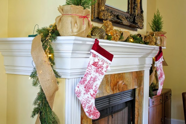 Red Toile Stockings-The Comforts of Home-Christmas Edition- How I Found my Style Sundays- From My Front Porch To Yours