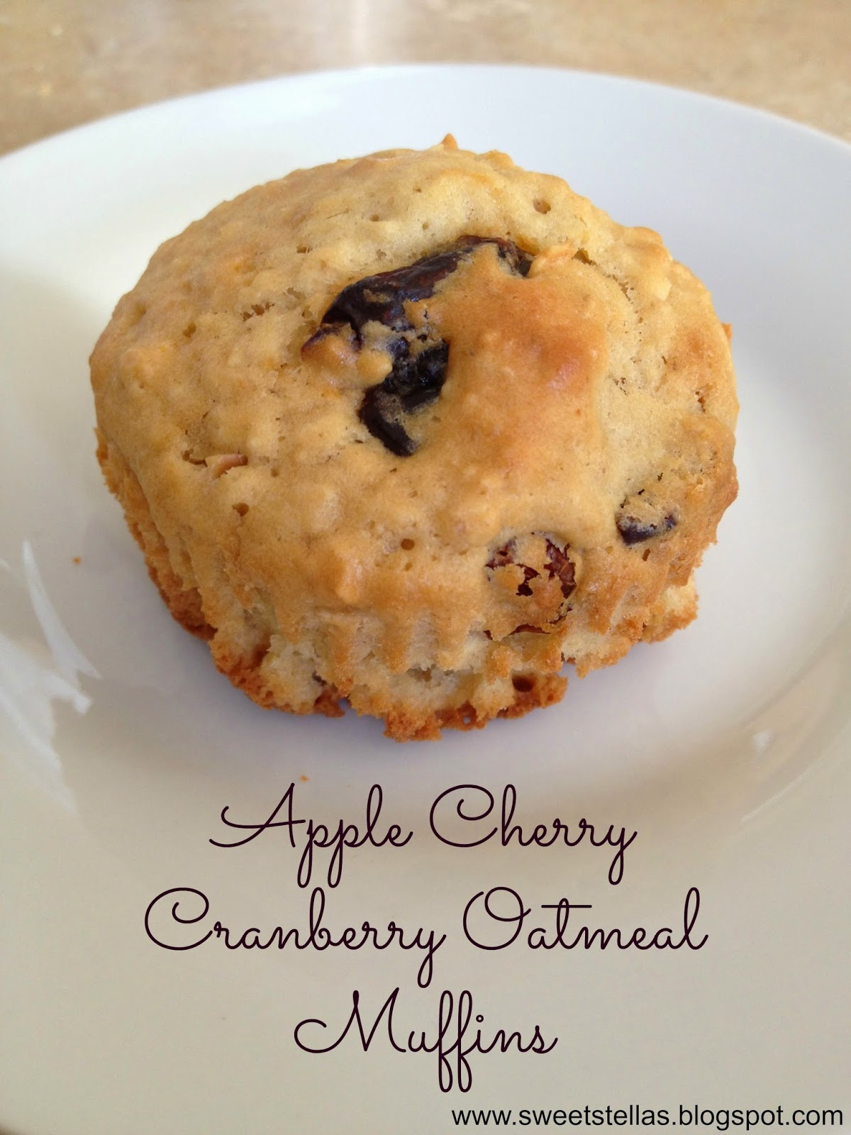 Sweet Stella's: Apple Cherry Cranberry Oatmeal Muffin #recipe